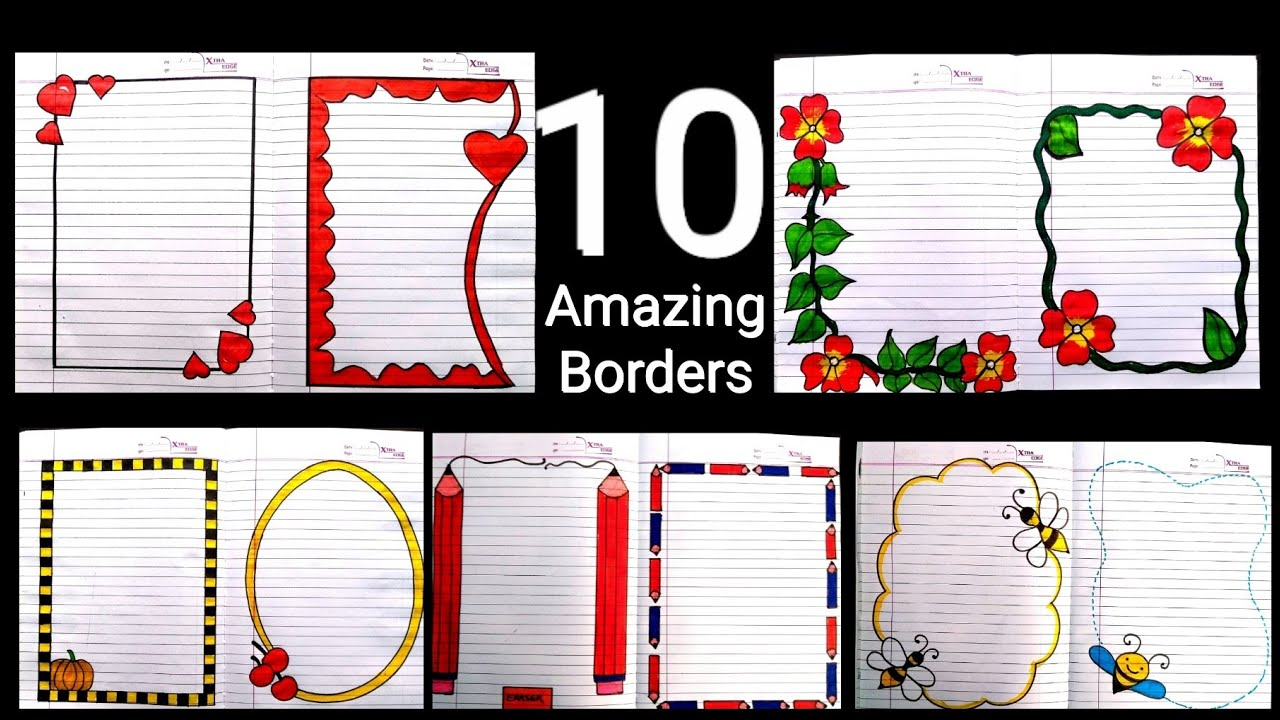 10 Beautiful borders for projects handmade  simple border ...