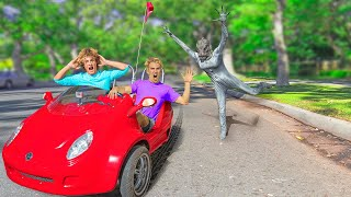 CHASED by POND MONSTER in TINY CAR!! (who is undercover as this mystery creature?)