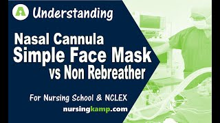 What is a Nasal Cannular  simple face mask versus vs non rebreather Nursing KAMP NCLEX review 2019