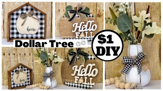 Easy Dollar Tree DIYs | Buffalo Check Fall Farmhouse Home Decor | 2020