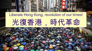 """Liberate Hong Kong, revolution of our times!"" in Cantonese (光復香港,時代革命) with Protest Examples"