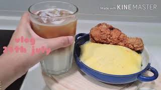 Cooking vlog | How to make Easy Kimchi (막김치) fried rice, fried chicken, iced latte at home