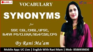 Synonyms | Vocabulary in English With Meaning in Hindi By Rani Mam For SSC & Banking Exams | Part-32