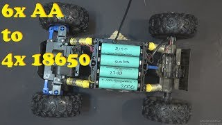 RC Car hack: From 6x AA to 4x 18650 batteries- Maisto Rock Crawler Extreme 4WD