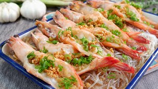 So Easy you'll never order this at a restaurant. Steamed Garlic Prawns 清蒸蒜蓉冬粉虾 Chinese Shrimp Recipe