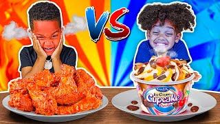 HOT VS COLD FOOD CHALLENGE WITH THE PRINCE FAMILY!!